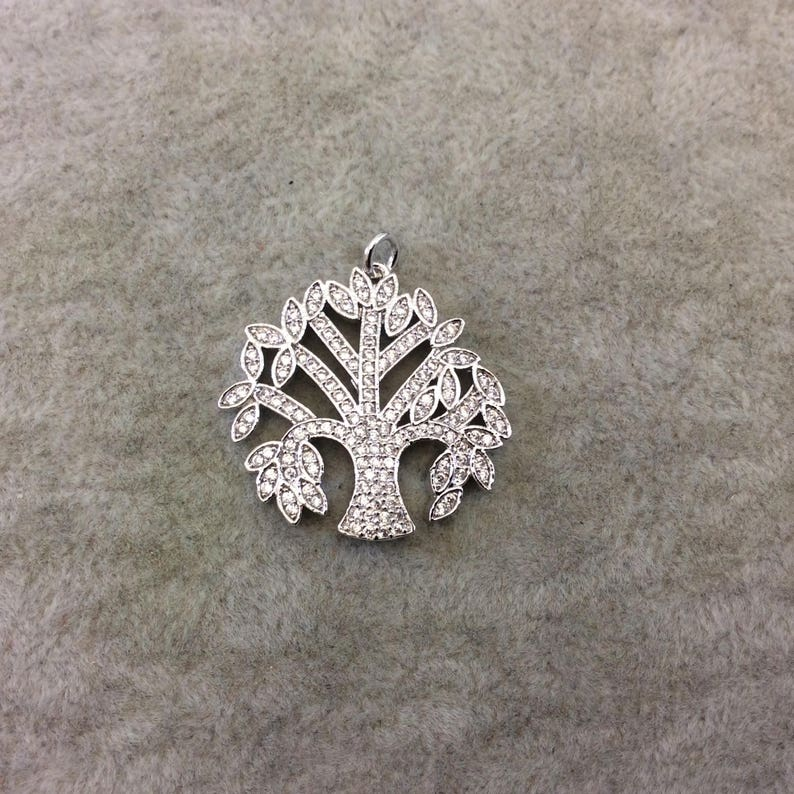 Silver Plated CZ Cubic Zirconia Inlaid Tree of Life Shaped Copper Pendant Sold Individually RANDOM Measuring 27mm x 26mm Approx