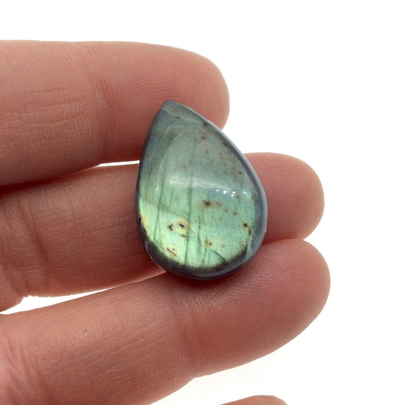 9mm Dome Height Measuring 18mm x 20mm Natural Gemstone Cab AAA Teardrop Shaped Iridescent GreenBlue Labradorite Flat Back Cabochon
