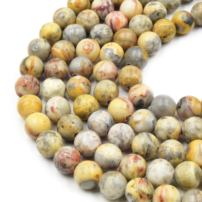 7.5 Strand Mixed YellowGray Crazy Lace Agate Smooth Round Shaped Beads Large Hole Crazy Lace Agate Bead