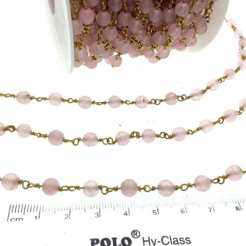 Sold by the foot! Gold Plated Copper Wrapped Rosary Chain with 6mm Faceted Pink Agate Round Shaped Beads