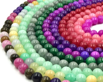 Jade Beads | Smooth Dyed Pink Green Yellow Red Purple Jade Round Beads | 6mm 8mm 10mm 12mm Available