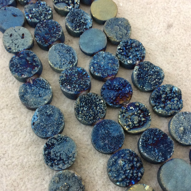 Approximately 16 Beads 12mm BlueGreen Premium Druzy Agate Flat RoundCoin Shaped Beads - Natural Semi-Precious Gemstone 8 Strand