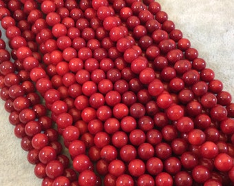 """6mm Smooth Dyed Red Sea Bamboo Coral Round/Ball Shaped Beads - 15.5"""" Strand (Approximately 58 Beads) - Natural Semi-Precious Gemstone"""