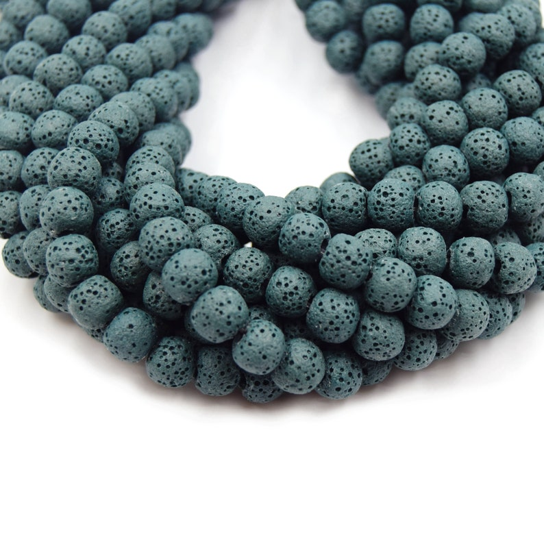 6mm 8mm 10mm 12mm 14mm 16mm 18mm Available Lava Beads Dark Teal Round Diffuser Beads