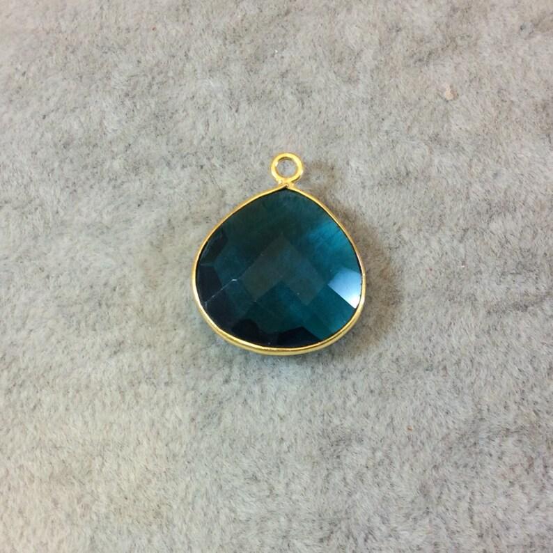 Natural Semi-precious Gemstone Measuring 18mm x 18mm Gold Finish Faceted Teal Quartz HeartTeardop Shaped Bezel Pendant Component