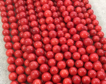 """8mm Glossy Finish Dyed Red Sea Bamboo Coral Round/Ball Shaped Beads with 1mm Holes - 15.25"""" Strand (Approx. 48 Beads per Strand)"""