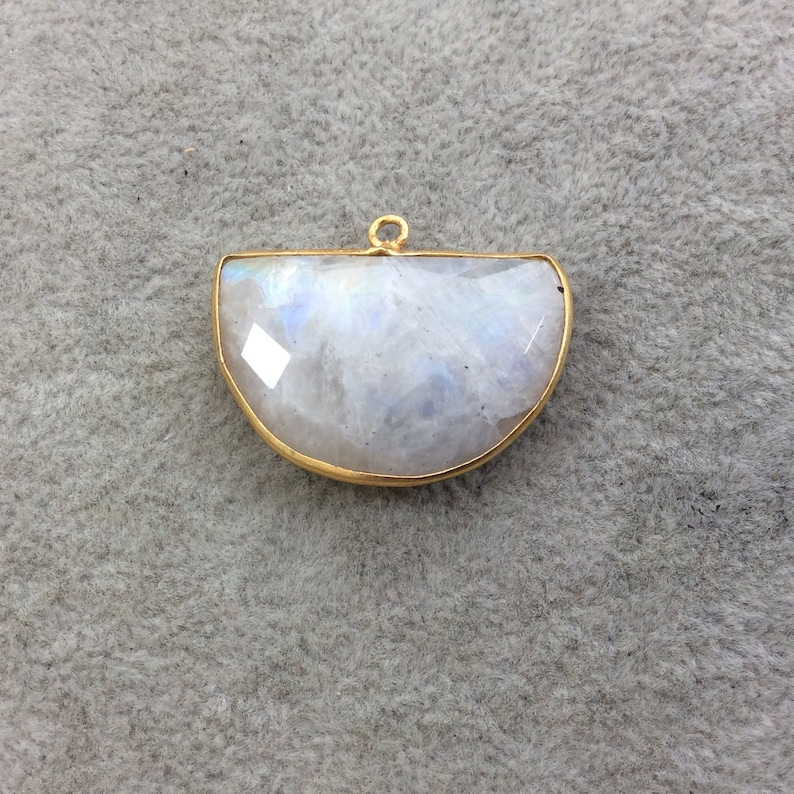 Randomly Chosen Gold Plated Natural Moonstone Faceted Half Moon Shaped Copper Bezel Pendant Sold Individually Measures 30mm x 20mm