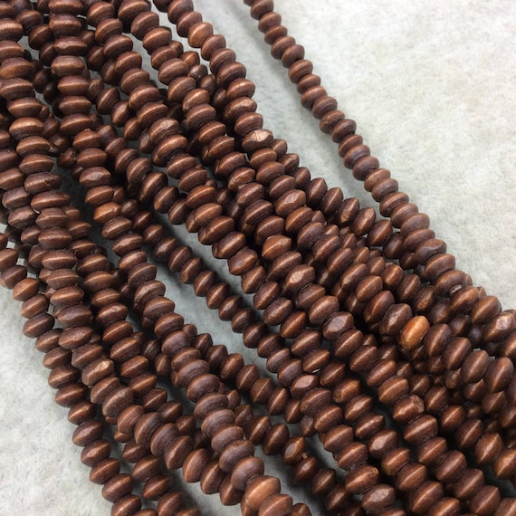 Sold by the Strand Approx. 104 Beads 19mm Dark Brown Saucer Shaped Bone Beads - Natural Ox Bone 16 Strand