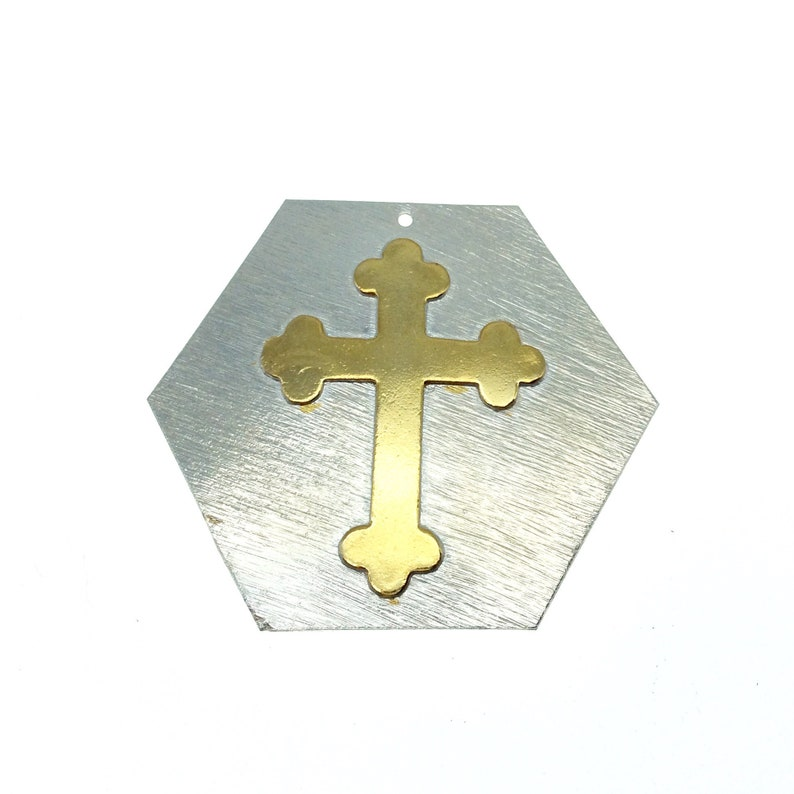 OOAK Rustic Shield Pendant Silver Plated Hexagon Shape with Gold Plated Cross Embellishment Measuring 51mm x 58mm