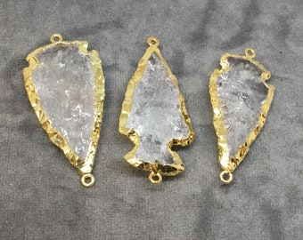 "2-2.5"" Arrowhead Shaped Electroformed Clear Quartz Connector - Measuring 50mm-60mm Long, Approximately - Sold Individually, Randomly Chosen"