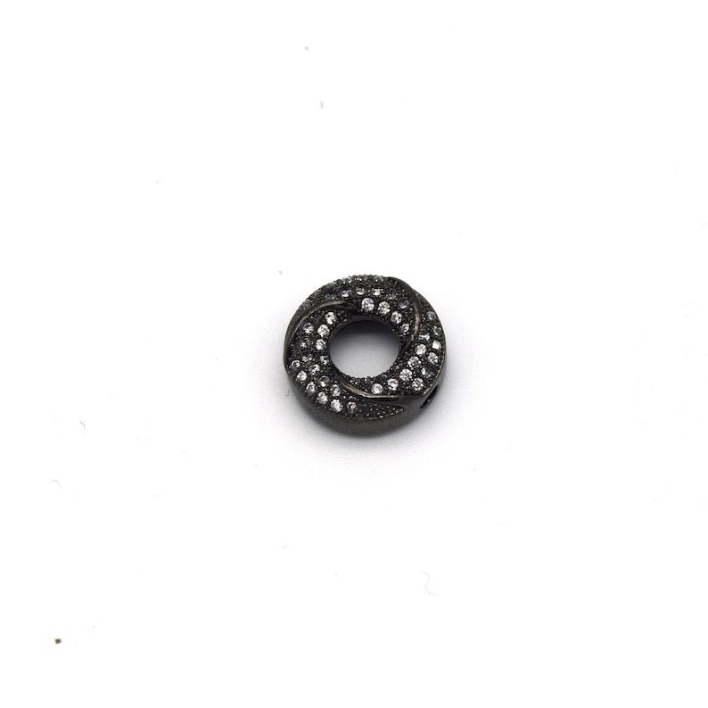 13mm x 13mm Gunmetal Plated Cubic Zirconia EncrustedInlaid Swirled DonutRing Shaped Bead