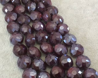 """14mm Glossy Finish Faceted Deep Crimson Round/Coin Chinese Crystal Beads - Sold by 12"""" Strands (Approx. 22 Beads) - (CC140-17)"""