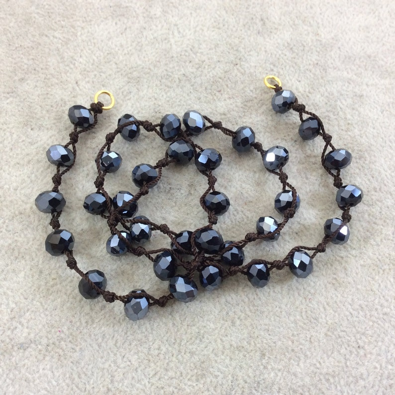 18 Dark Brown Thread Necklace Section with 8mm Faceted Metallic AB Finish Rondelle Shape Opaque Black Glass Beads Chinese Crystal Beads
