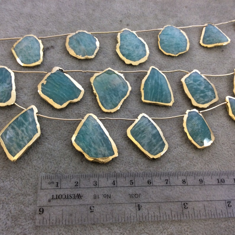 Gold Electroplated Smooth Freeform Slab Shaped Natural Amazonite Top-Drilled Beads - Measures 20mm x 25mm 9 Beads Approx. 9.5 Strand