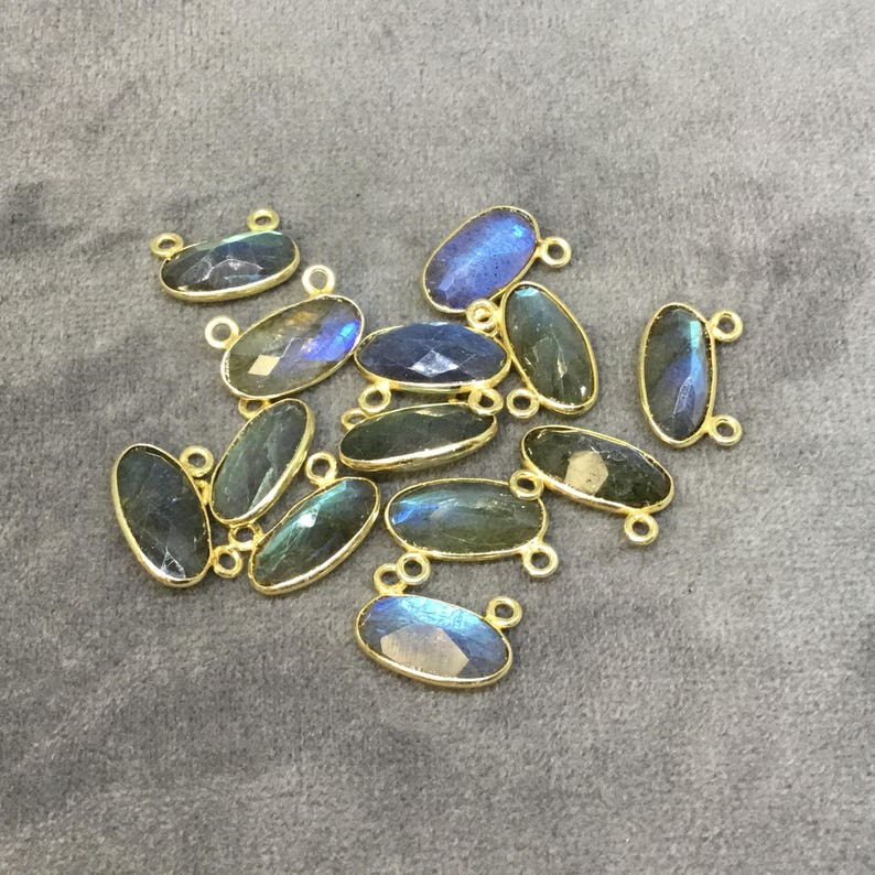Gold Plated Copper Faceted Natural Labradorite Faceted Oval Shaped Bezel Pendant with Two Top Rings Measuring 14mm x 7mm