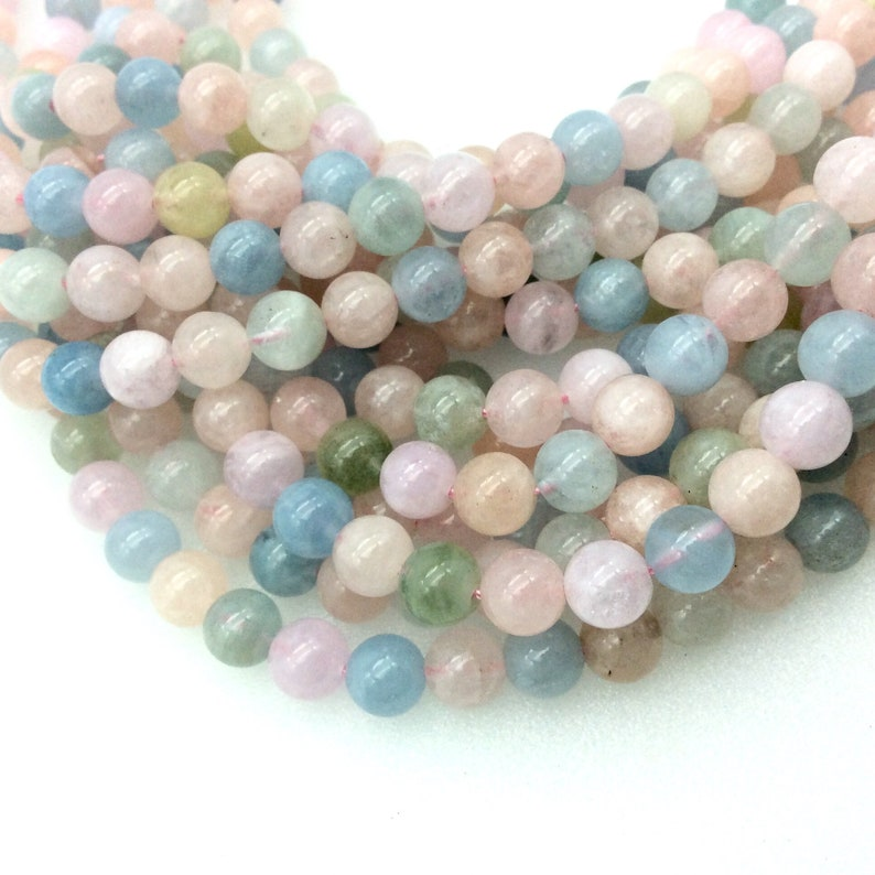 Semi-Precious Gemstone Sold by 15 Strands ~ 66 Beads UNENHANCEDUNTREATED 6mm Natural Smooth Glossy Pastel Mixed Morganite Round Beads