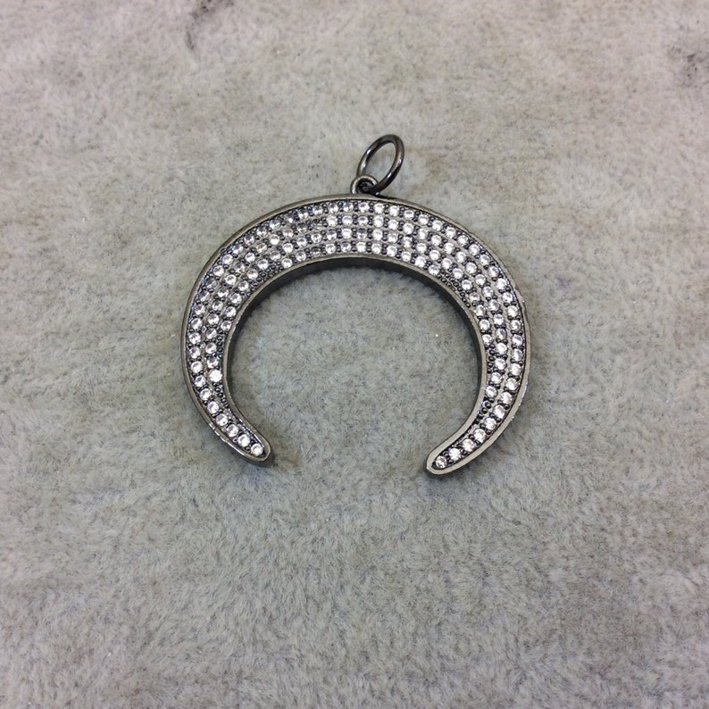 Measuring 37mm x 33mm See Related! Four Colors Available Large Gunmetal Plated CZ Cubic Zirconia Inlaid Crescent Shaped Copper Pendant