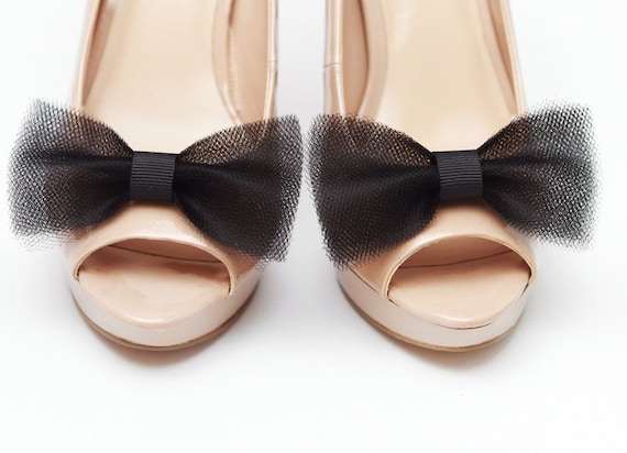 shoe clips black tulle bows Ballerina