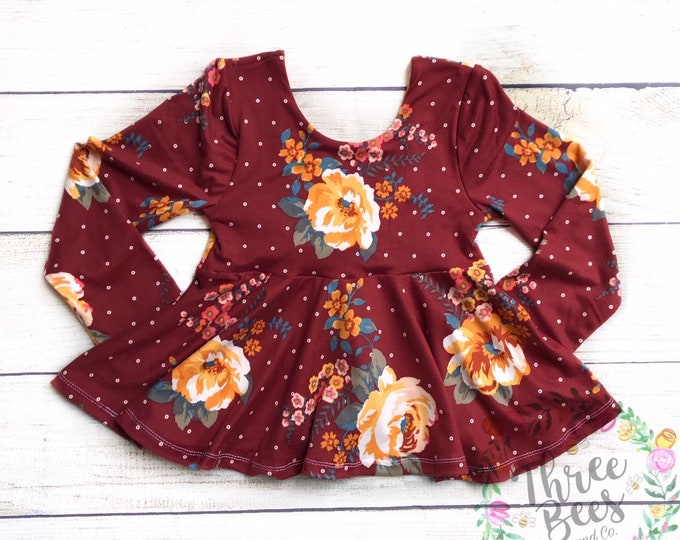 Featured listing image: Burgandy and mustard floral peplum