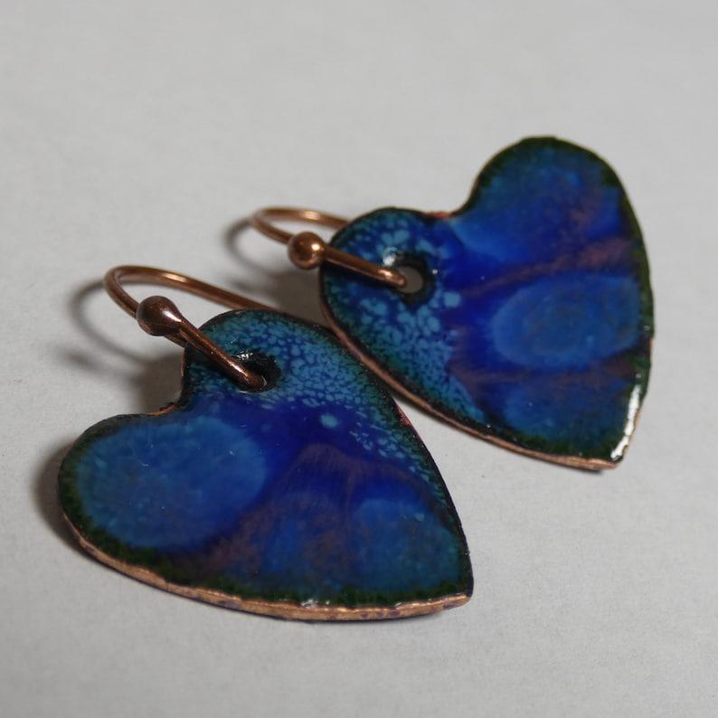 separation enamel cobalt blue and rose pink hearts drop dangle jewelry Enameled Copper Earrings