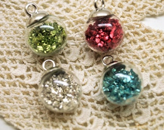 2 glasses balls pendants with sparkling charms 22*16 mm