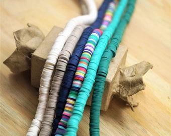 Heishi beads polymer 6 mm on  one strand 41 cm