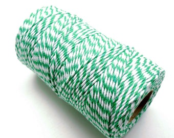 Baker's twine set of 10 meters, emerald green and white, 2 mm thick 2 strands