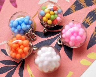 2 glasses balls pendants with foam balls 21*16 mm