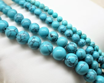 Beads turquoise howlite 4/6/8/10 mm