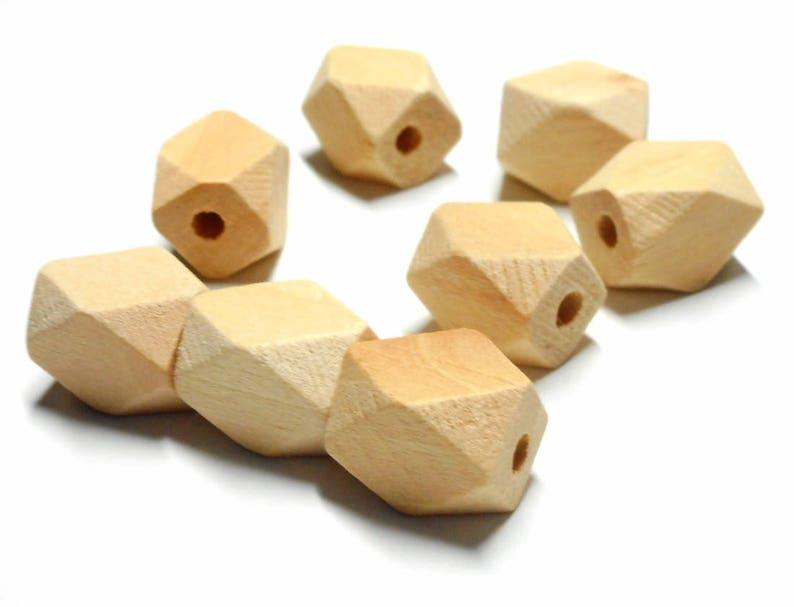 Lot De 10 Perles En Bois Forme Polygone Rectangulaire 1310 Mm Etsy