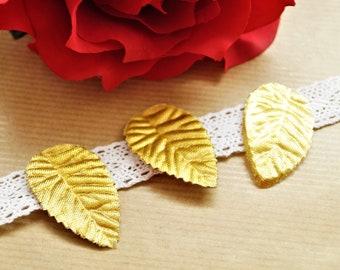 200 golden artificial leaves, fabrics, 42 * 26 mm