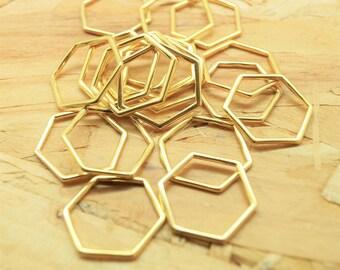Lot of 10 hexagon connectors, honeycomb, gold metal, 22 20 mm