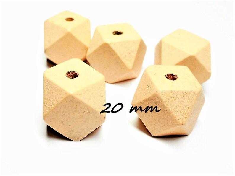 Wood Beads Polygon 20 mm set of 10 20 polygones 20 mm