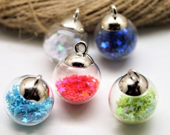 2 glasses balls pendants with stars charms 21*16 mm