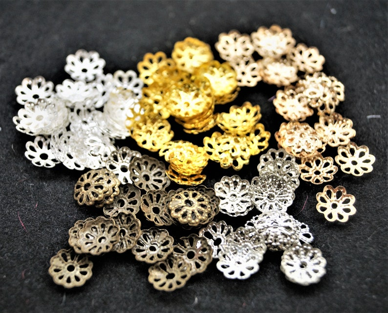 Flower caps spacer beads gold set of 100 6 mm image 0