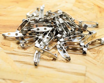 Set of 100 secure fasteners, pin holder pins, silver color gun, 20 * 5 * 5 mm