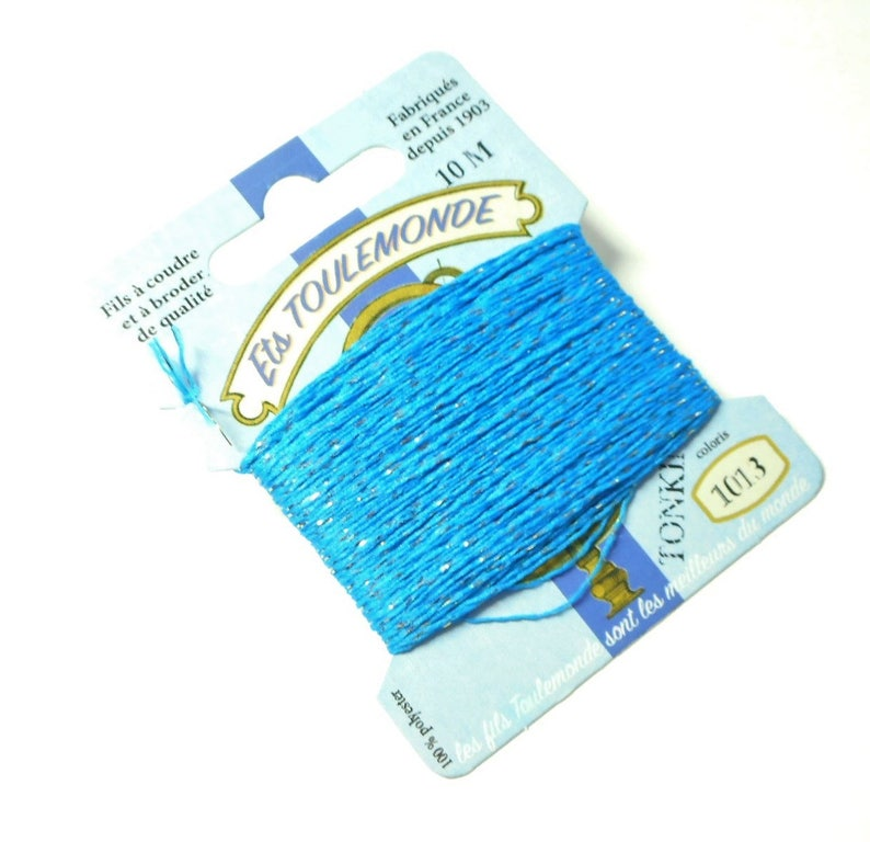 Tonkin yarn blue-blue and lurex gold in card 10 m