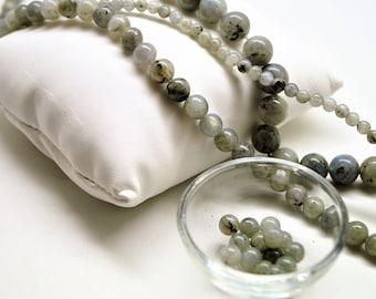 Labradorite beads grey 4/6/8/10 mm