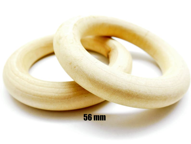 Rings natural wood 56 mm set of 10 20 anneaux, rings