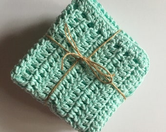 Crochet Dish Cloths - Mint - Set of three - Cotton