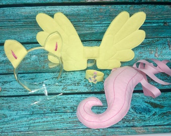 Shy Pony Costume Wings Ears Tail Wristband Set & Fluttershy costume | Etsy