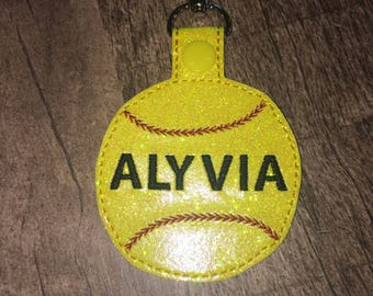 Personalized Glitter Softball Bag Tag Embroidered With Name
