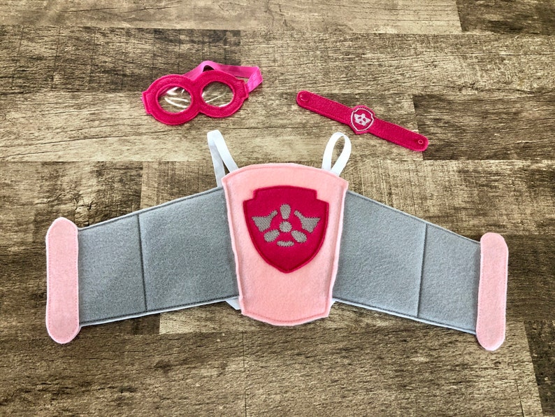 Wristband and Goggles Set Costume Dress Up Cosplay Skye Pup Felt Wings