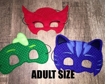 ADULT SIZE Bedtime Heroes Dress Up Mask Costume Accessory (Choose Owl, Cat, Gecko Mask)