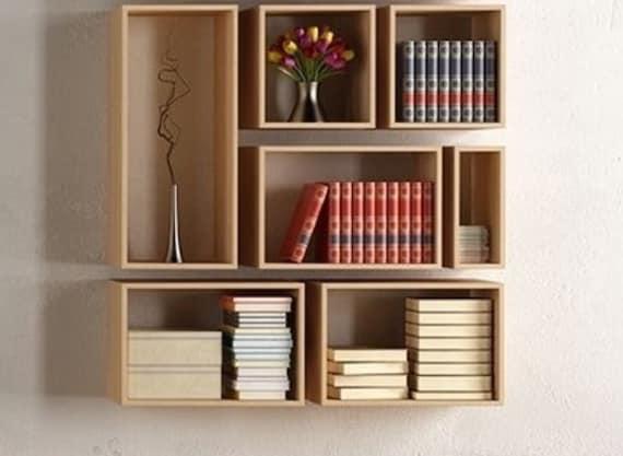 Moderne wand decor boekenplank wand decor boekenkast muur | Etsy