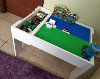 table with storage,kids Construction table,kids Play Table,kids wooden activity table,baseplate,Building block