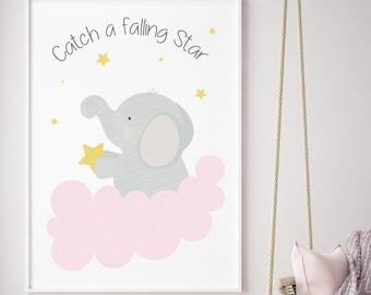 Catch a falling star,elephant , Playroom print, nursery print, wall art, girl, playroom poster, instant digital download,children wall art