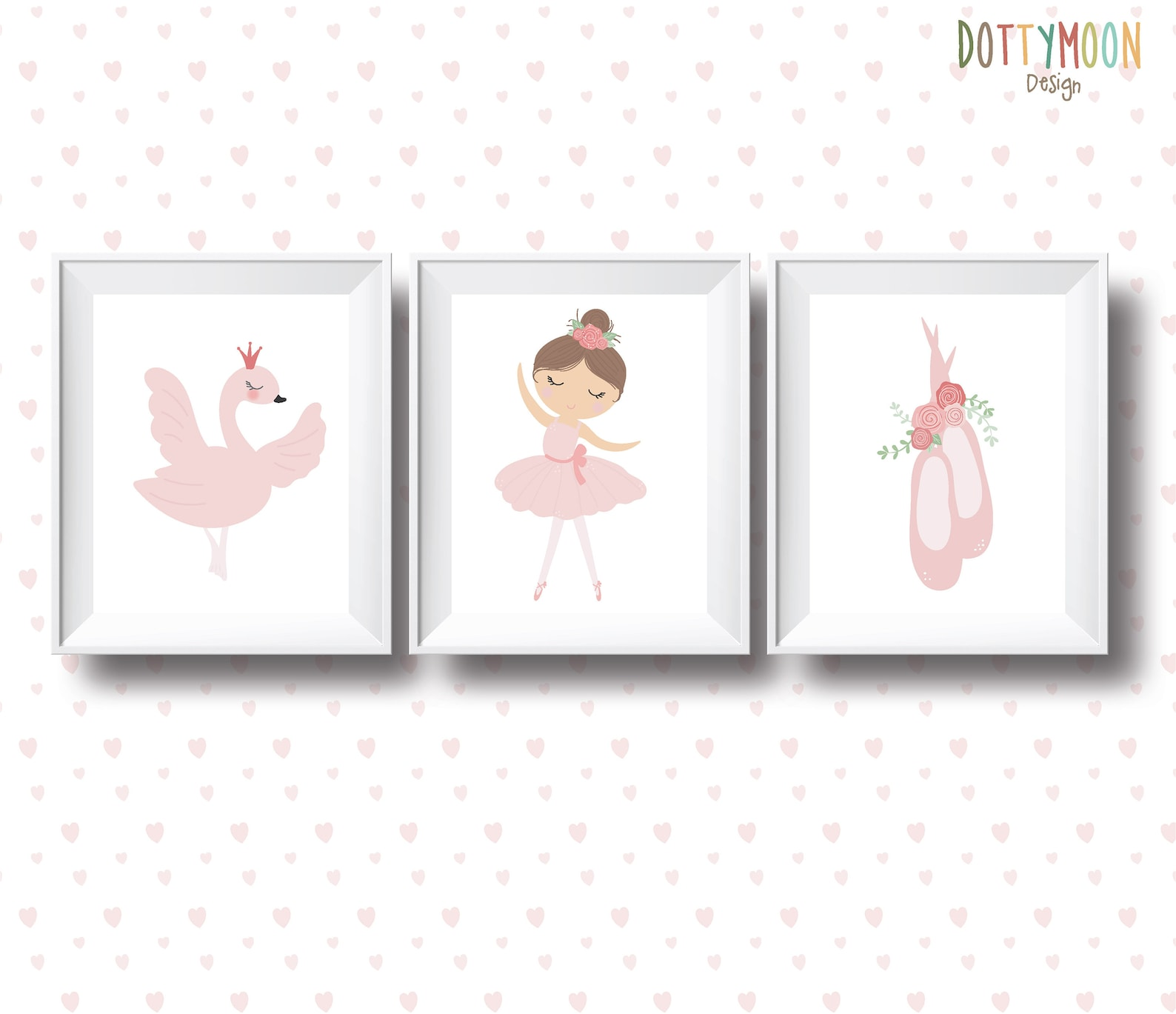 ballerina, swan and ballet shoes x 3 print set, instant digital download, children wall art