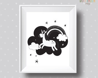 Unicorn in the clouds , black and white print , instant digital download, children wall art