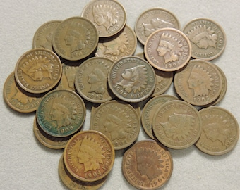 Indian Head Cent Penny - Lot of 25 Coins - Mixed Dates:  1900 to 1908